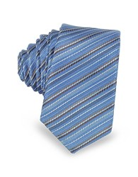 Laura Biagiotti Light Blue And Brown Diagonal Stripe Woven Silk Extra Narrow Tie