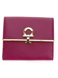 Salvatore Ferragamo Small Flip Lock Wallet Pink And Purple
