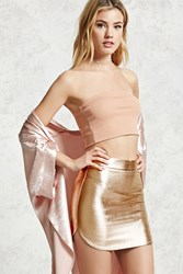 Forever 21 Metallic Faux Leather Skirt Rose Gold