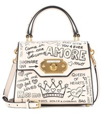 Dolce And Gabbana Welcome Printed Leather Shoulder Bag White