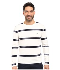 Lacoste Long Sleeve Crew Neck Stripe Tee Flour White Navy Blue Men's T Shirt Black