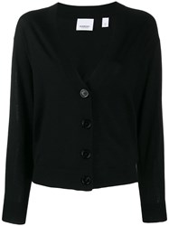 Burberry Checked Elbow Patch Cardigan Black