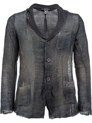 Avant Toi Distressed Knit Blazer Blue