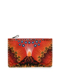Valentino Wonderland Large Flat Zip Pouch Red Pattern