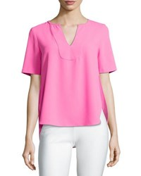 Trina Turk Kamren Short Sleeve Crepe Top White