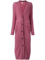 Laneus Long Knitted Cardigan Pink Purple