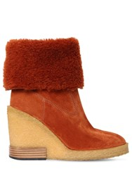 Tod's 85Mm Shearling And Suede Boots Rust