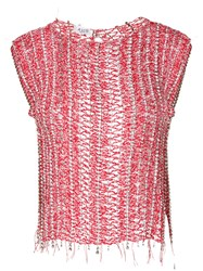 Aviu Open Knit Top Red