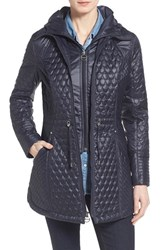 Women's Laundry By Shelli Segal Quilted Jacket With Hooded Inset Mystic Blue