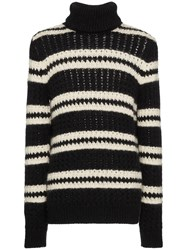 Saint Laurent Black Striped Wool Knitted Rollneck