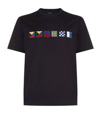 Zegna Boating Flags T Shirt Navy