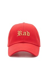 Forever 21 Rad Embroidered Cap Red Gold
