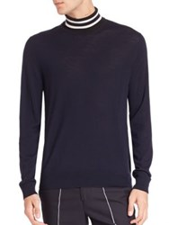Paul Smith Striped Turtleneck Solid Sweater Navy