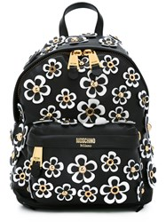 Moschino Daisy Applique Backpack Women Leather Metal One Size Black
