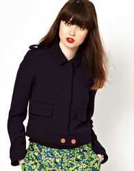 Boutique By Jaeger Military Jacket Navy
