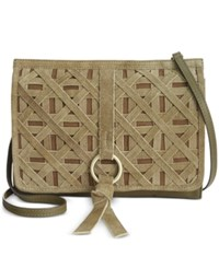 Nanette Lepore Leather Crossbody Clutch Olive