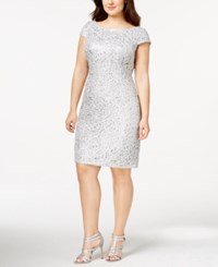 Adrianna Papell Plus Size Sequin Beaded Lace Shift Dress Silver