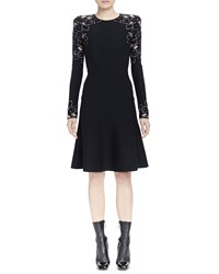 Alexander Mcqueen Long Sleeve Knit Rose Jacquard Dress Women's