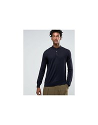 Kiomi Knitted Polo Shirt With Long Sleeves Navy