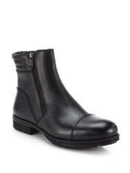Aquatalia By Marvin K Hugh Shearling Lined Leather Ankle Boots Black