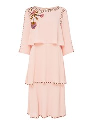 Biba Embroidered Tiered Dress Pink