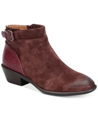 Sofft Vasanti Suede Booties Women's Shoes Berry