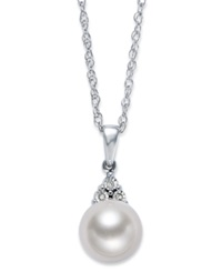 Macy's Sterling Silver Necklace Cultured Freshwater Pearl 8Mm And Diamond Accent Cone Pendant