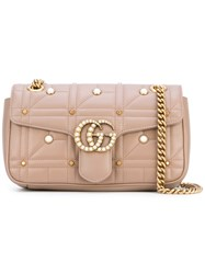Gucci Embellished Gg Marmont Matelasse Shoulder Bag Women Leather Acrylic Metal One Size Nude Neutrals