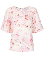 Isolda Floral Print Blouse Silk Crepe Pink Purple