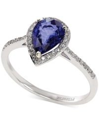 Effy Collection Royale Bleu By Effy Diffused Sapphire 1 Ct. T.W. And Diamond 1 6 Ct. T.W. Pear Ring In 14K White Gold