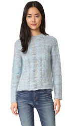 Raquel Allegra Cable Knit Pullover French Blue