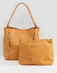 Oasis Hobo Shoulder Bag With Zip Detail Ochre Brown
