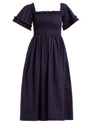 Molly Goddard Adelaide Smocked Square Neck Midi Dress Navy