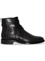 Burberry Strap Detail Leather Ankle Boots Black