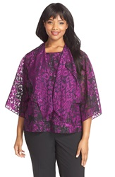 Alex Evenings Print Chiffon Twinset With Tiered Tank Plus Size Black Plum
