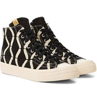 Visvim Skagway Printed Suede High Top Sneakers Black