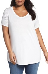 Sejour Plus Size Women's Shirttail Hem Tee Ivory Cloud