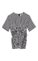 Msgm Gingham Ruched Short Sleeve Top Multi