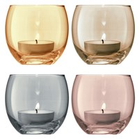 Lsa International Polka Assorted Tealight Holders Set Of 4 Metallic