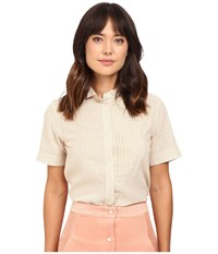 Rachel Antonoff Dazzle Tuxedo Top Cream Women's Clothing Beige