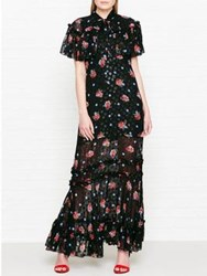 Anna Sui Bouquets And Dots Maxi Dress Black