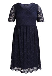 Evans V Neck Flared Dress Cocktail Dress Party Dress Navy Dark Blue