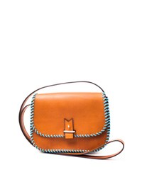 Lacontrie Rohan Small Whipstitched Crossbody Bag Camel Blue