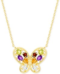 Victoria Townsend Multi Gemstone 1 1 2 Ct. T.W. And Diamond Accent Butterfly Necklace In 18K Gold Plated Sterling Silver Yellow Gold