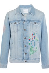 Mira Mikati Candy Embroidered Embellished Denim Jacket Light Denim