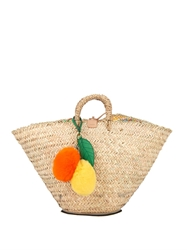 Dolce And Gabbana Coffa Kendra Straw And Fur Beach Bag