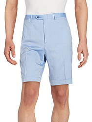 Brioni Cotton Wool And Silk Shorts Sky Blue