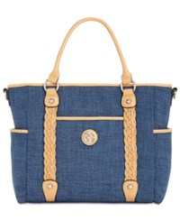 Giani Bernini Braided Medium Tote Created For Macy's Denim Natural