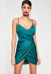 Missguided Teal Silky Wrap Dress Green