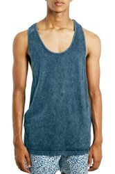 Topman Tablet Wash Slim Racerback Tank Blue
